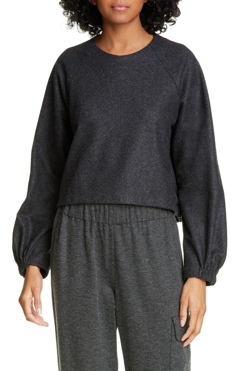 TIBI Blouson Sleeve Crop Top, Main, color, GREY MELANGE