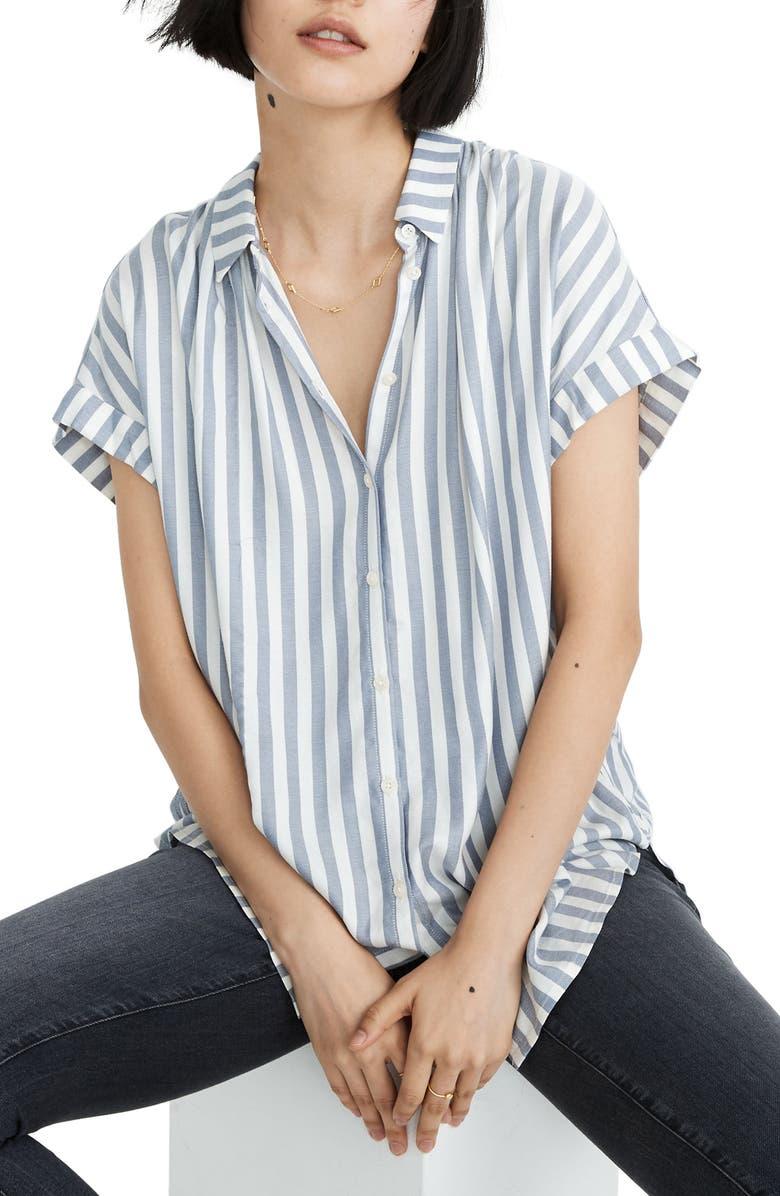 MADEWELL Bayside Stripe Central Drapey Shirt, Main, color, BAYSIDE STRIPE FADED INDIGO