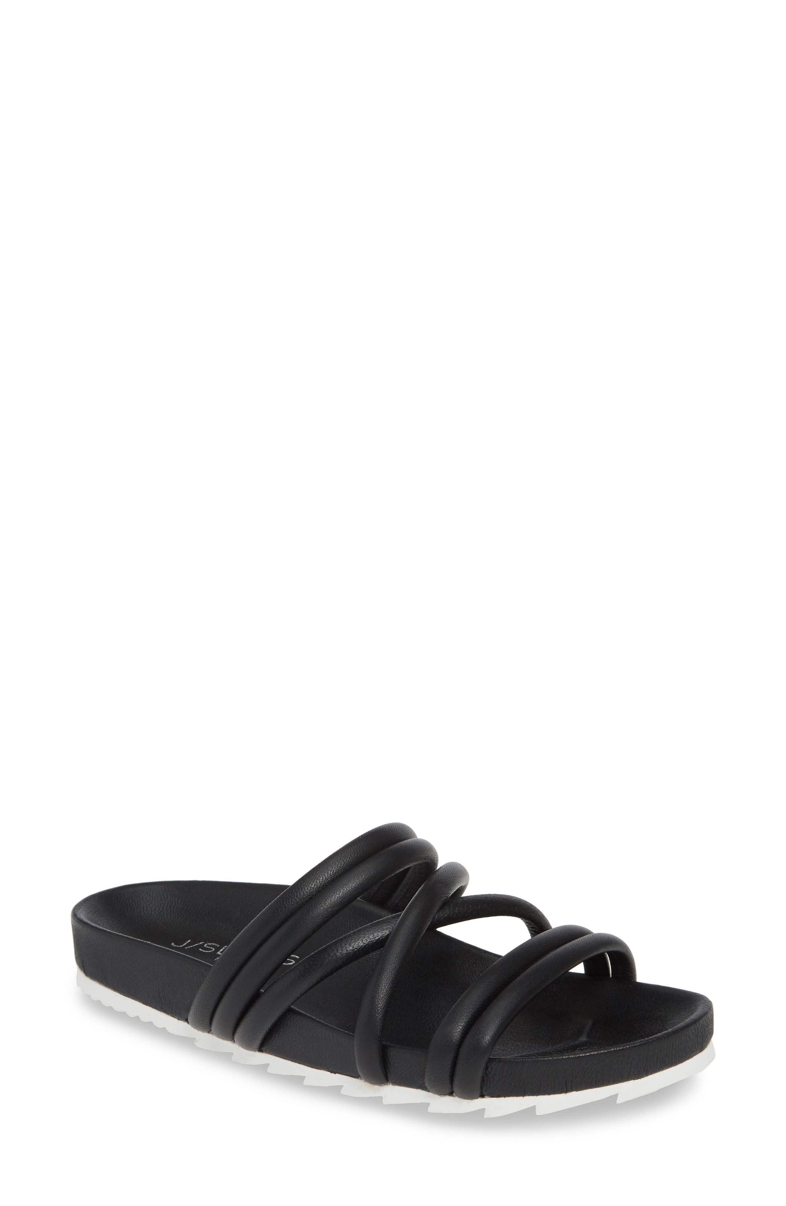 Jslides Tess Strappy Slide Sandal- Black