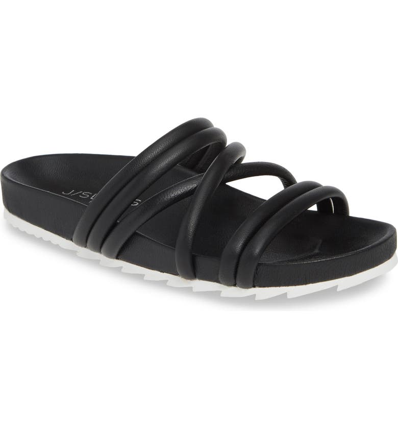 JSLIDES Tess Strappy Slide Sandal, Main, color, BLACK LEATHER