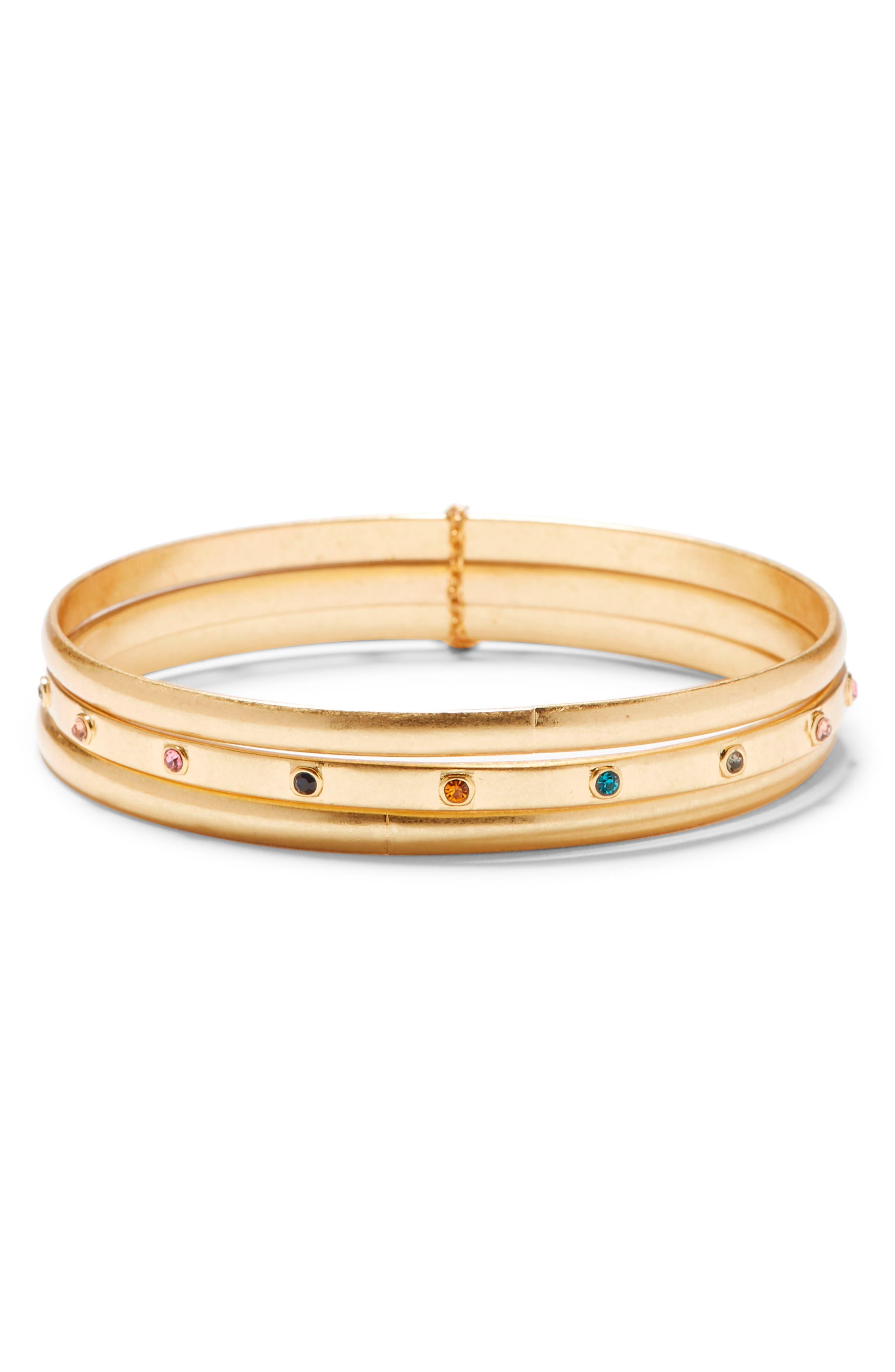 Image of Sole Society Stone Bangle Bracelets - Set of 3
