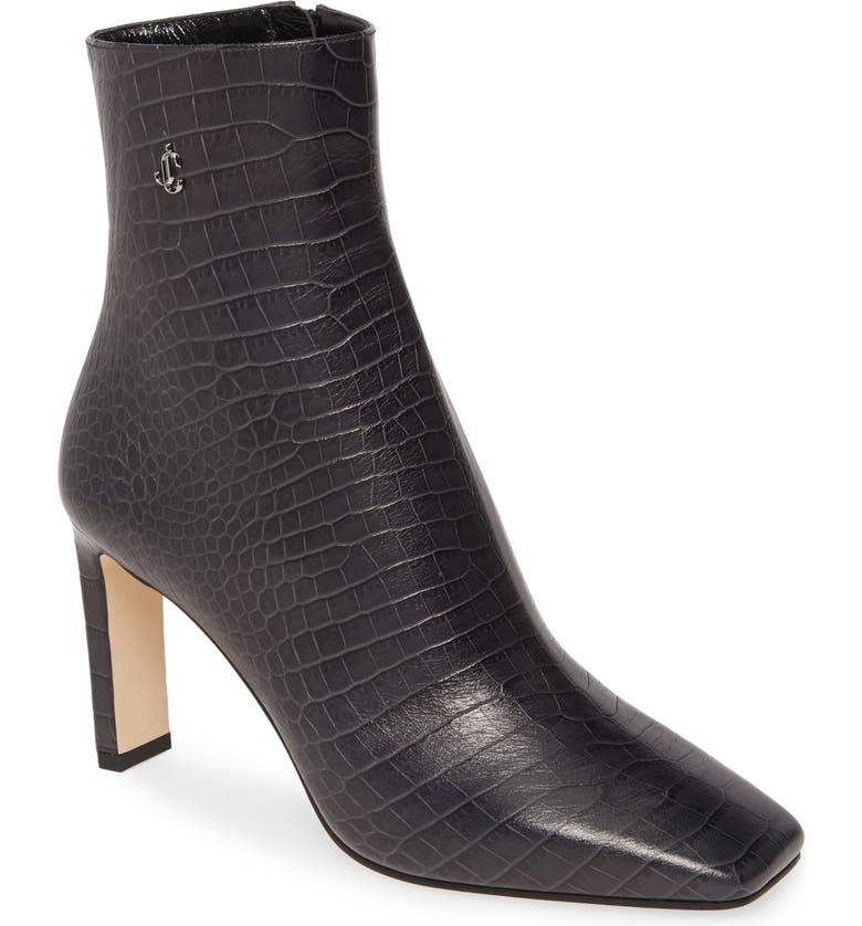 JIMMY CHOO Minori Croc-Embossed Square Toe Bootie, Main, color, DUSK CROC PRINT