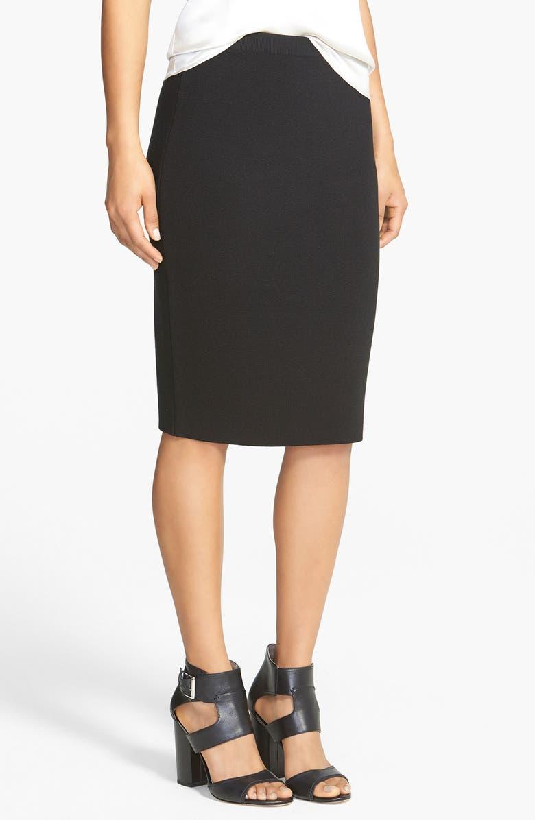 EILEEN FISHER Silk & Cotton Straight Skirt, Main, color, 001