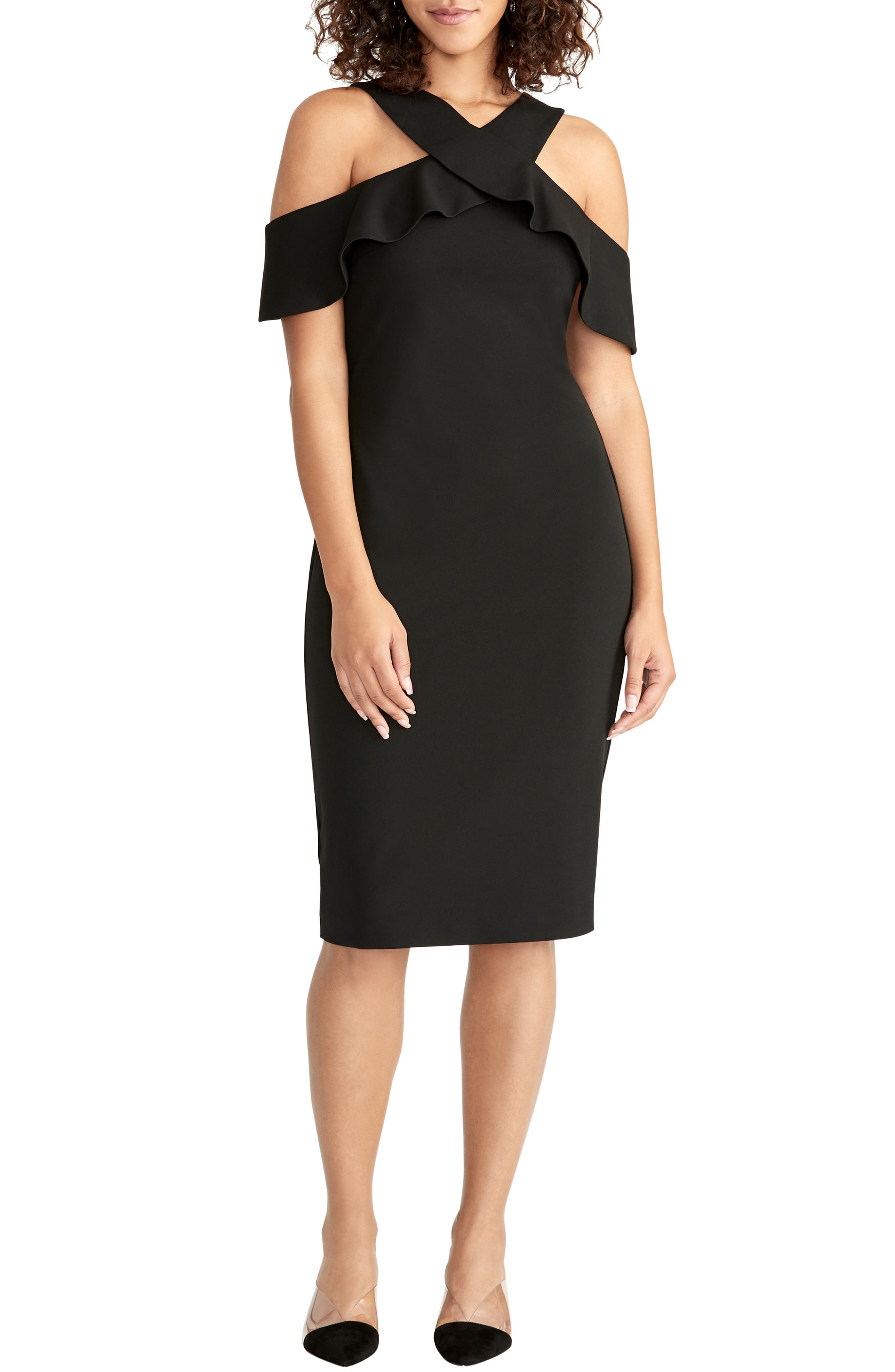 Image of RACHEL Rachel Roy Cold Shoulder Crepe Scuba Dress