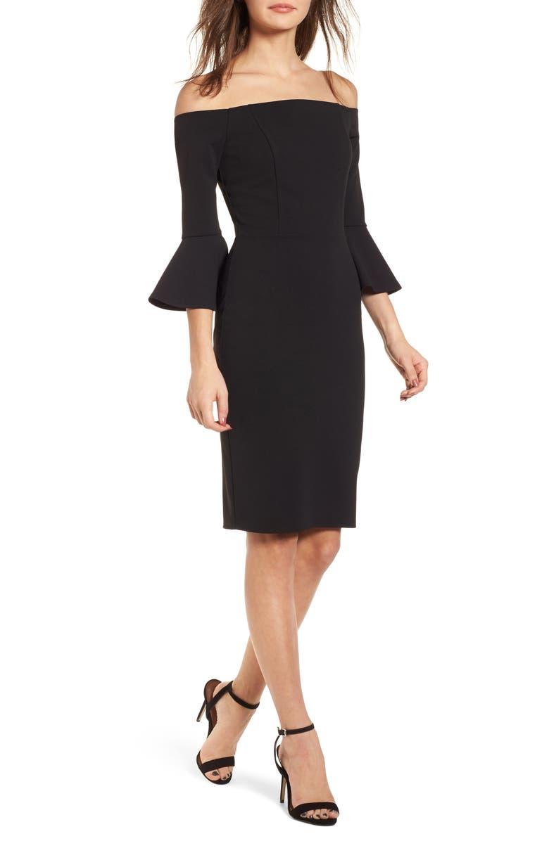 SOPRANO Flare Sleeve Off the Shoulder Dress, Main, color, 001