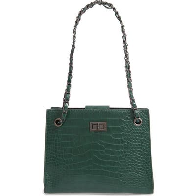 Knotty Crocodile Embossed Shoulder Bag With Zip Pouch - Green