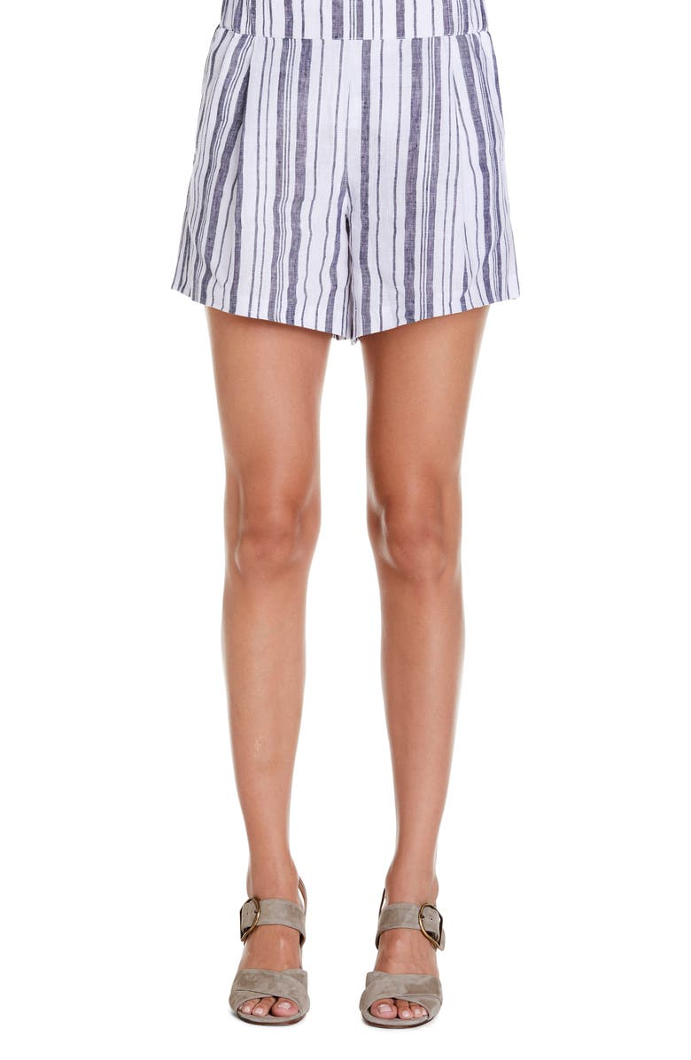 Michael Stars Stripe High Waist Linen Shorts