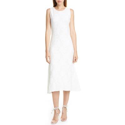 Fuzzi Floral Rib Sleeveless Midi Dress, White