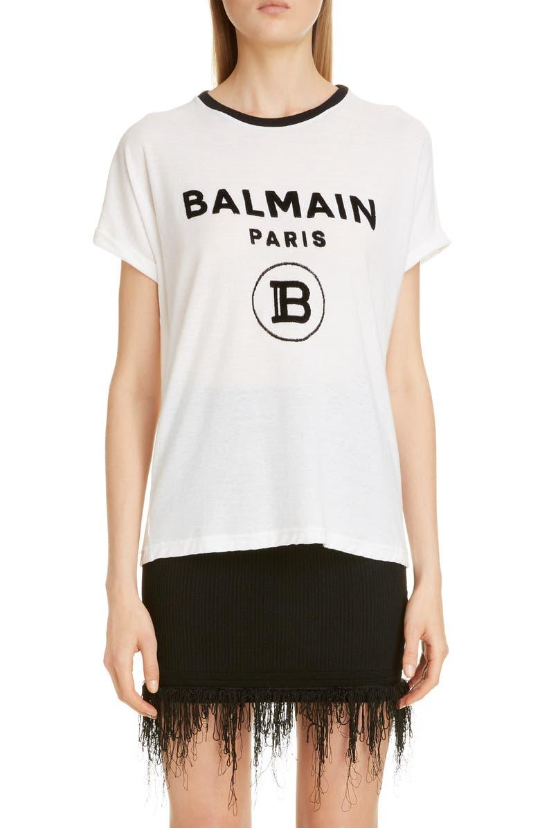 BALMAIN Logo Cotton Tee, Main, color, BLANC/ NOIR