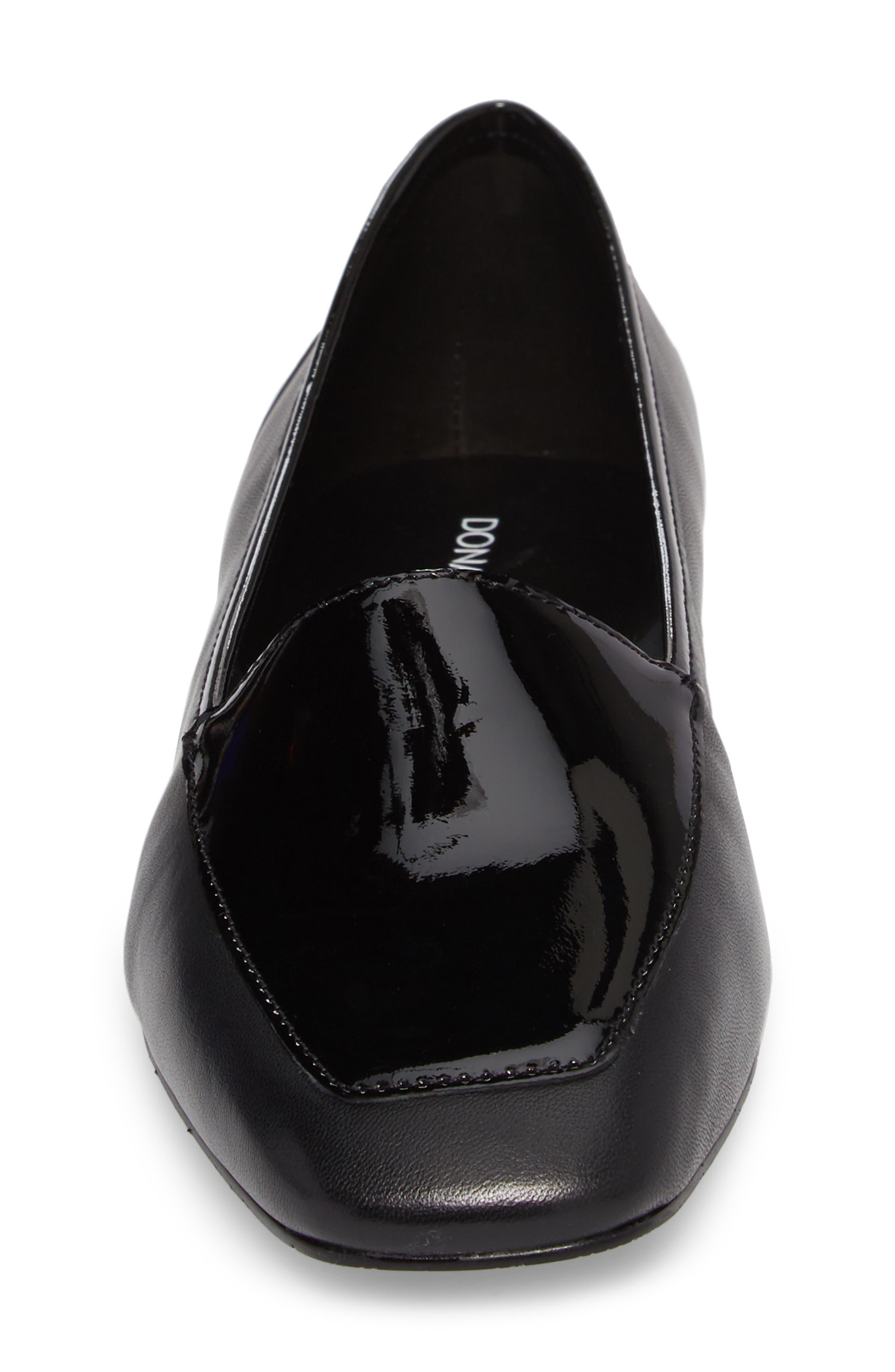 ,                             Deedee Apron Toe Flat,                             Alternate thumbnail 4, color,                             BLACK LEATHER