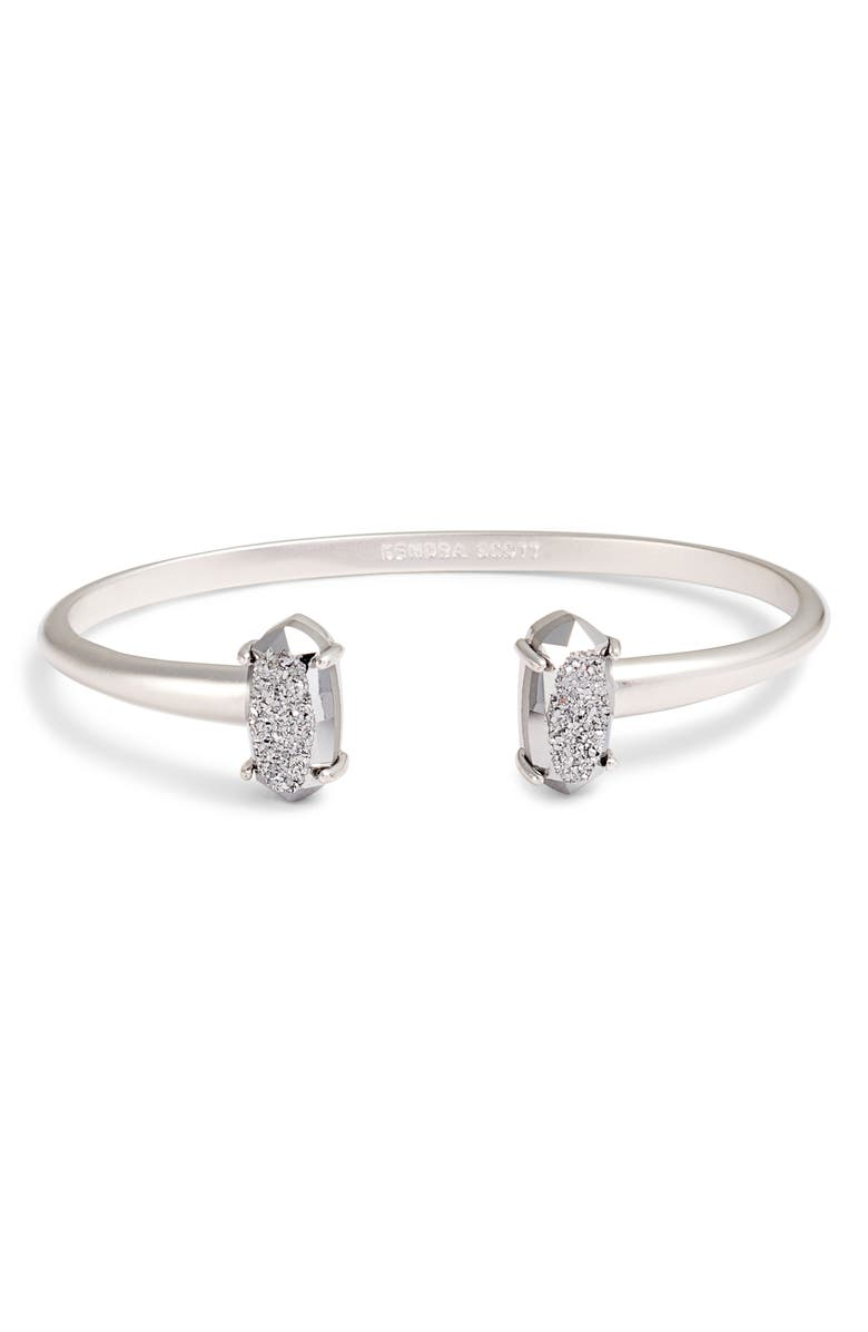 KENDRA SCOTT Edie Cuff, Main, color, PLATINUM DRUSY/ SILVER