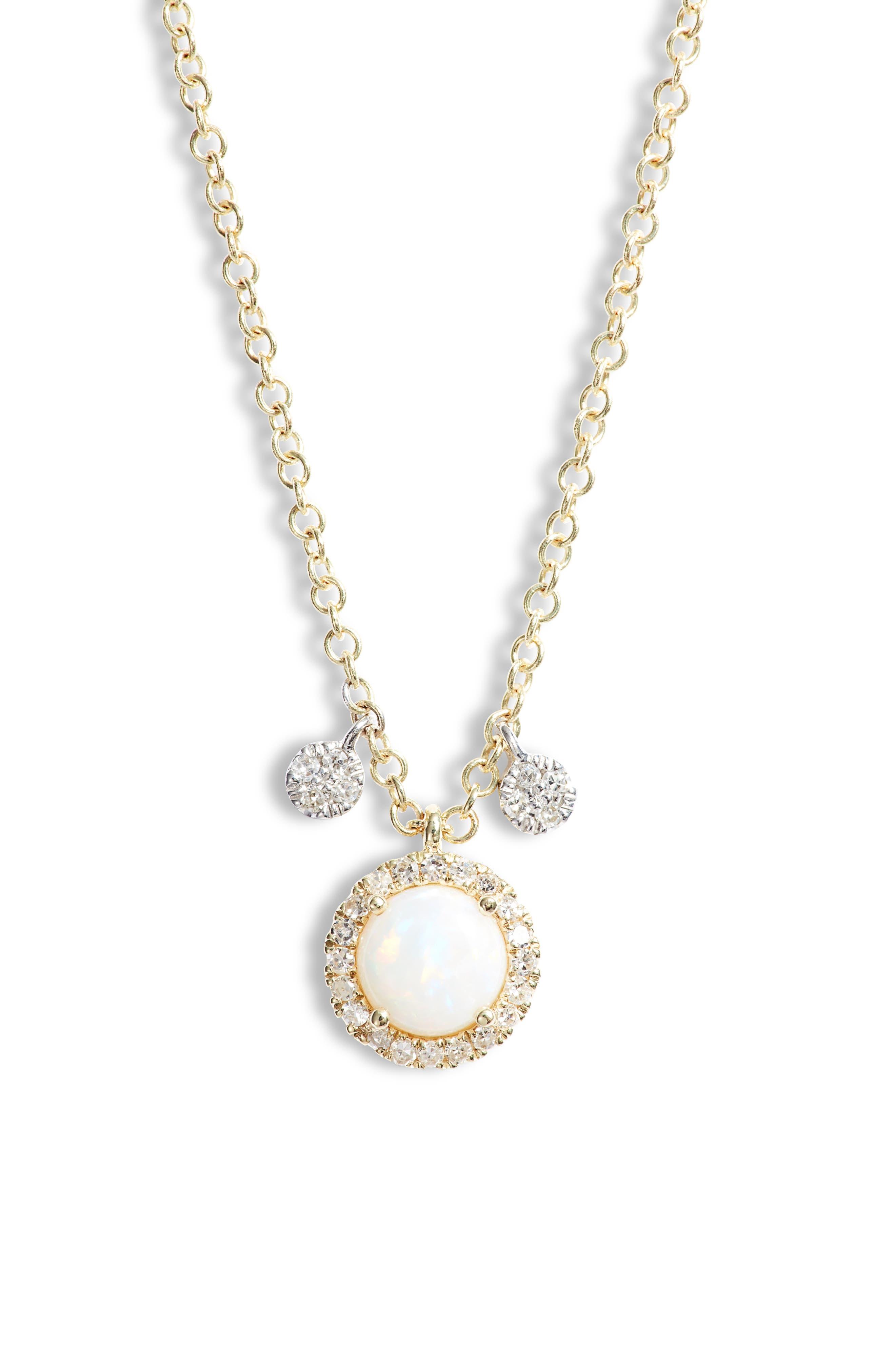 Opal & Diamond Pendant Necklace