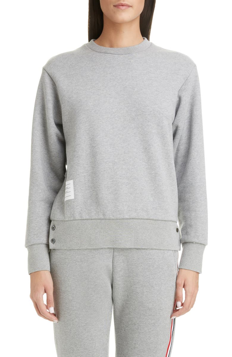 THOM BROWNE Stripe Back Sweater, Main, color, LIGHT GREY