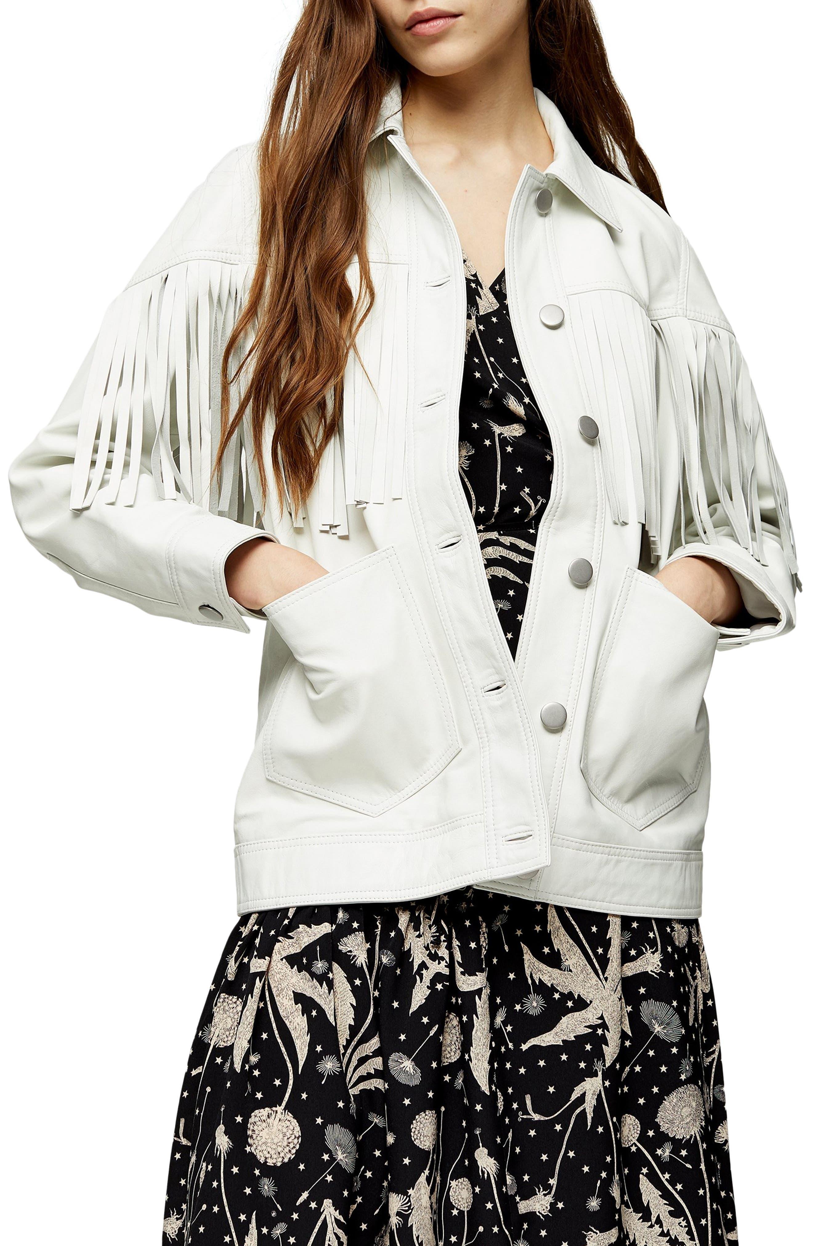 70s Jackets, Furs, Vests, Ponchos Womens Topshop Roy Fringe Leather Jacket $420.00 AT vintagedancer.com