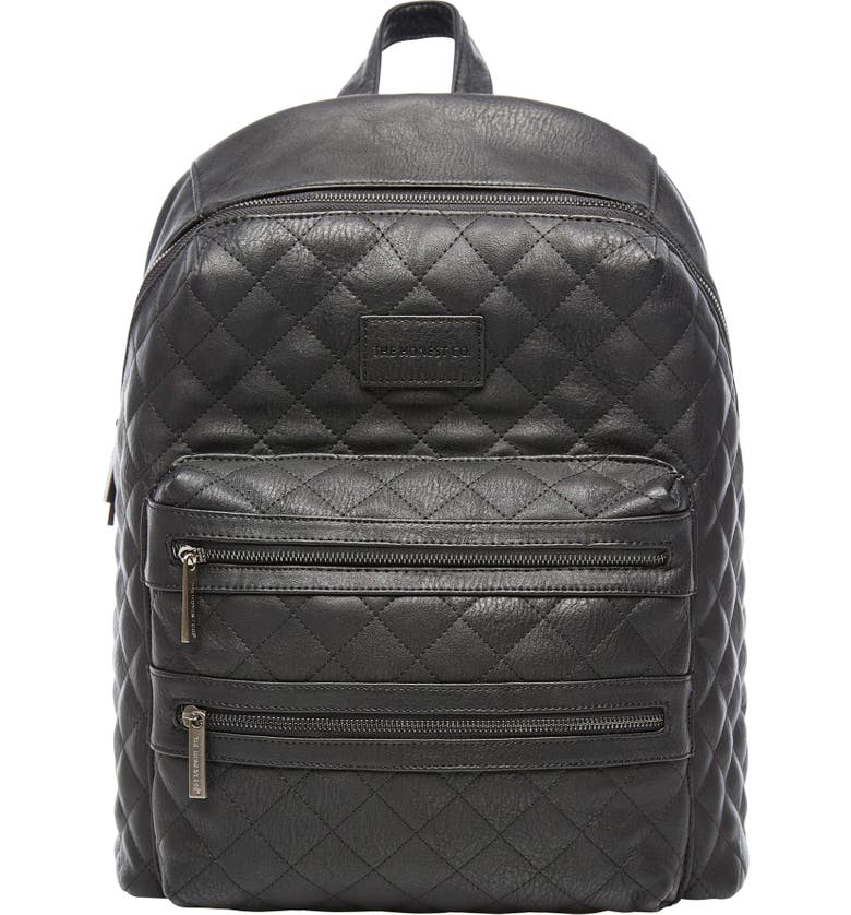 THE HONEST COMPANY City Quilted Faux Leather Diaper Backpack, Main, color, 001