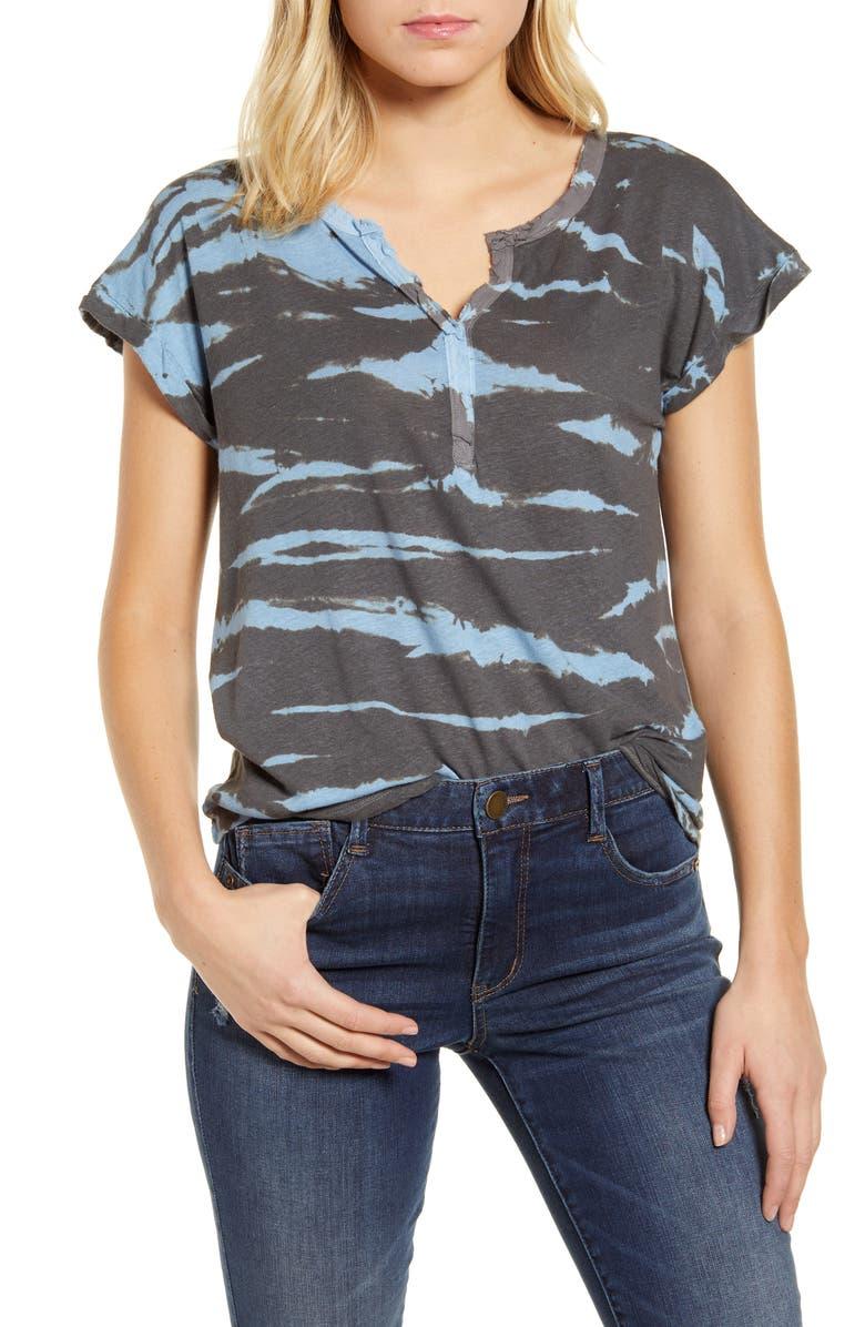 WIT & WISDOM Tie Dye Linen Blend Top, Main, color, CHARCOAL- BLUE