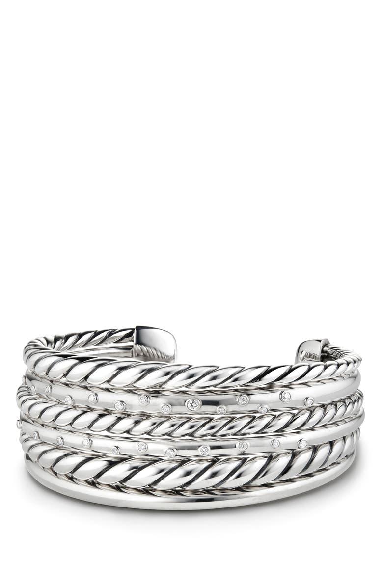 DAVID YURMAN Pure Form<sup>®</sup> Cuff Bracelet, Main, color, SILVER/ DIAMOND