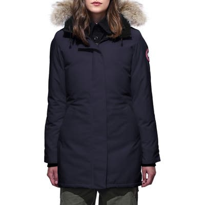 Canada Goose Victoria Down Parka With Genuine Coyote Fur Trim, (10-12) - Blue