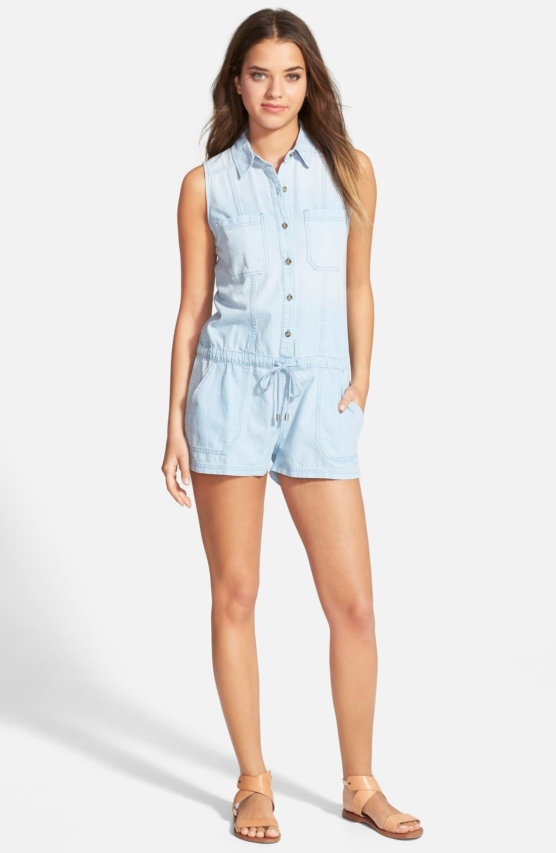 'Hollis' Chambray Romper, Main, color, 400