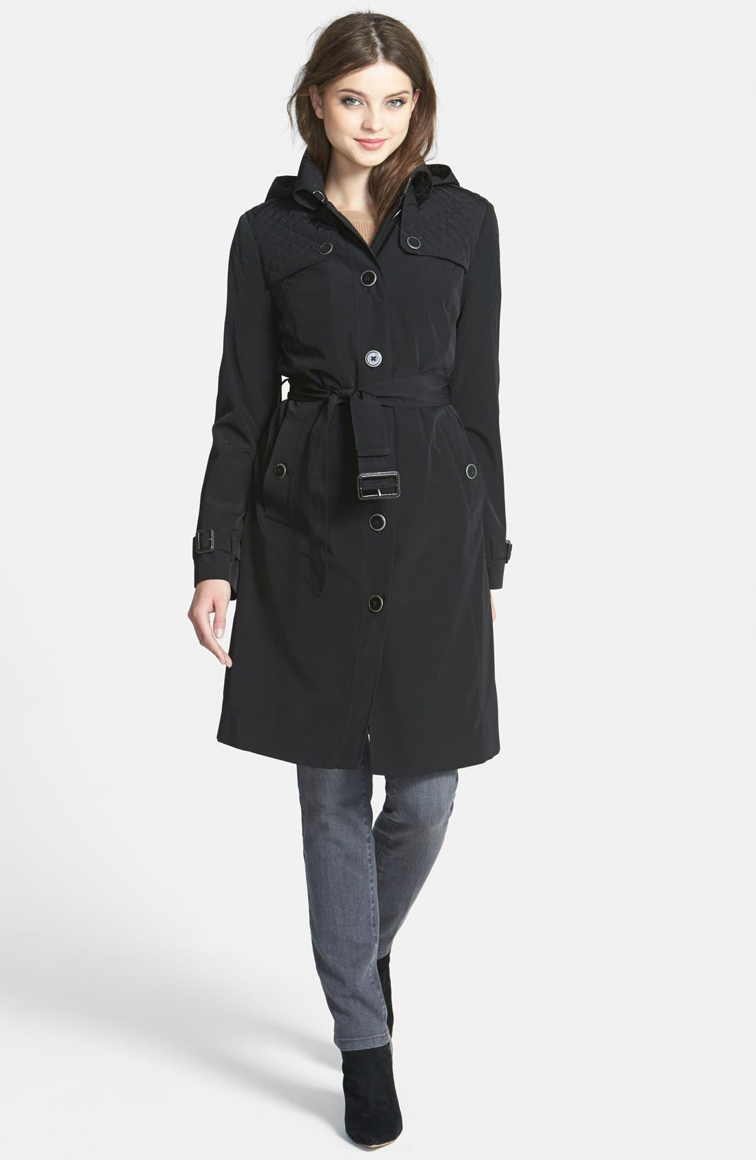 ,                             Quilt Flap Trench Coat with Detachable Liner,                             Main thumbnail 1, color,                             001