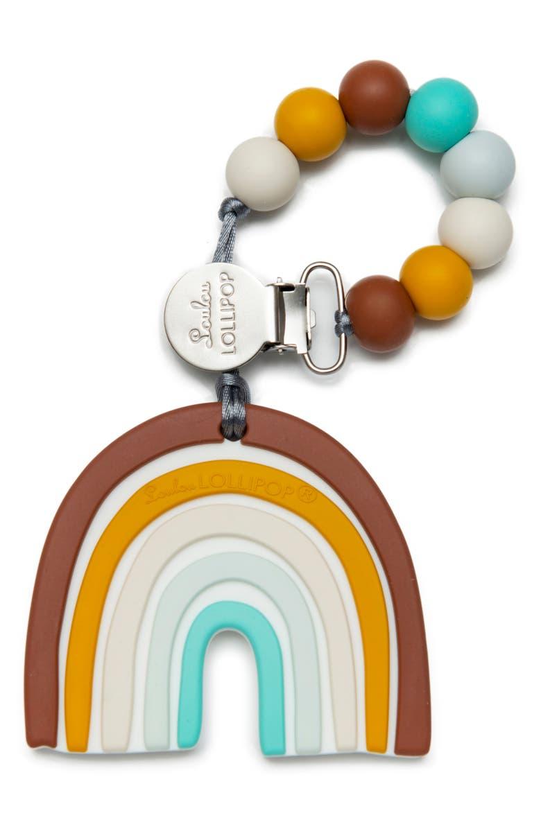 LOULOU LOLLIPOP Rainbow Teething Toy & Holder, Main, color, NEUTRAL RAINBOW