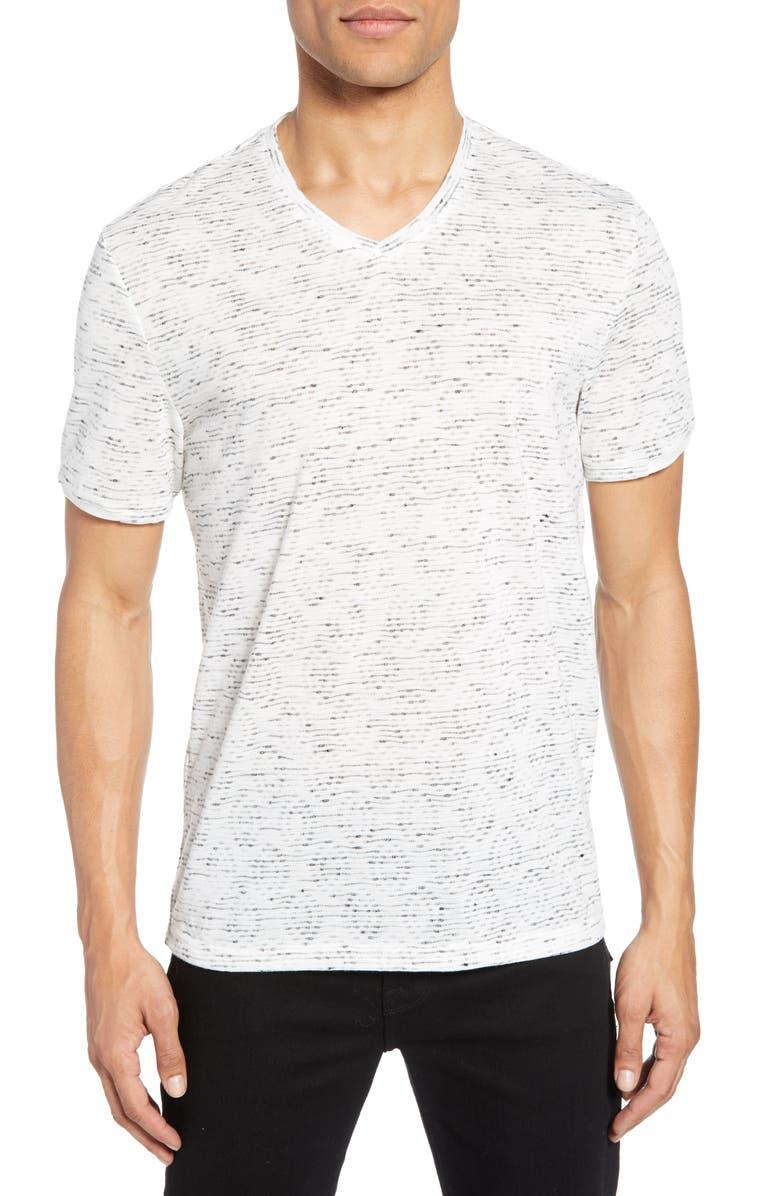 VINCE CAMUTO Slubbed Slim Fit V-Neck T-Shirt, Main, color, LIGHT GREY