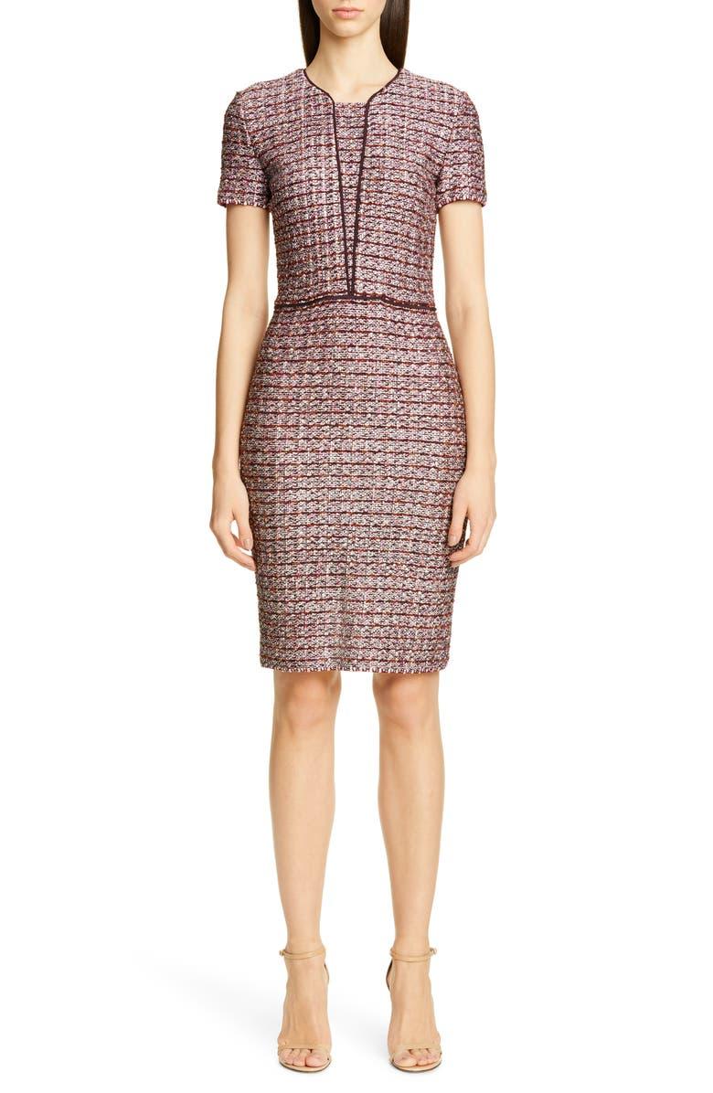 ST. JOHN COLLECTION Multitexture Inlay Knit Sheath Dress, Main, color, CASSIS/ CAVIAR/ PEACH MULTI