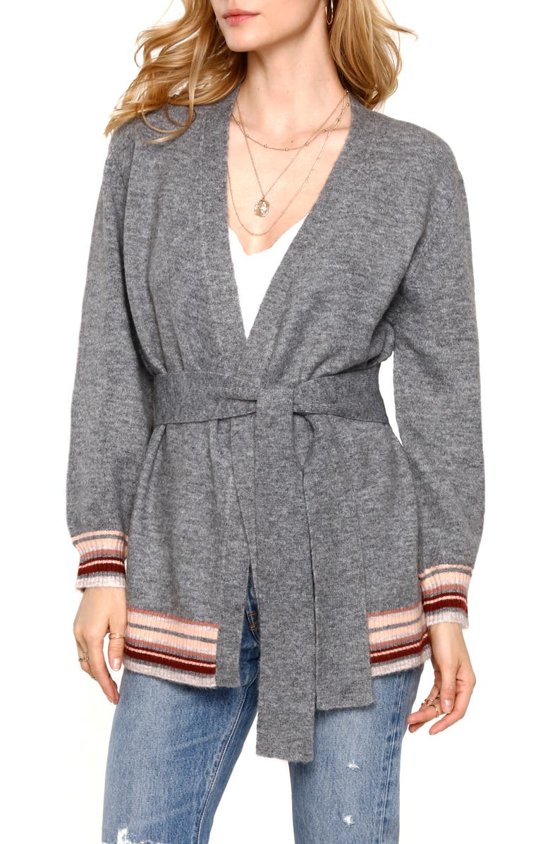 HEARTLOOM Belted Cardigan Sweater, Main, color, HEATHER