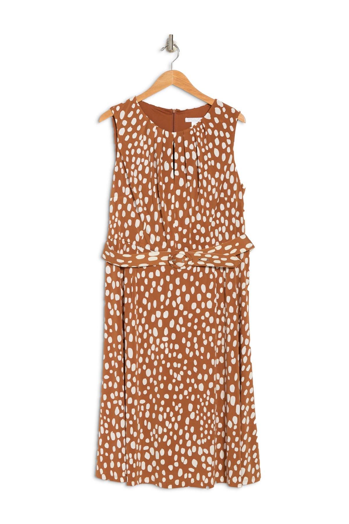 London Times Dresses DOT JERSEY KEYHOLE BELTED DRESS