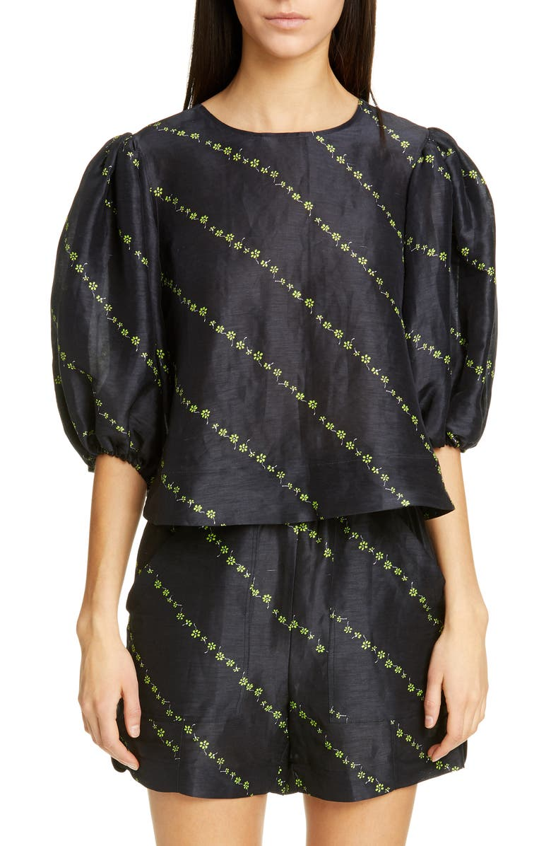 GANNI Floral Diagonal Stripe Print Silk & Linen Top, Main, color, BLACK