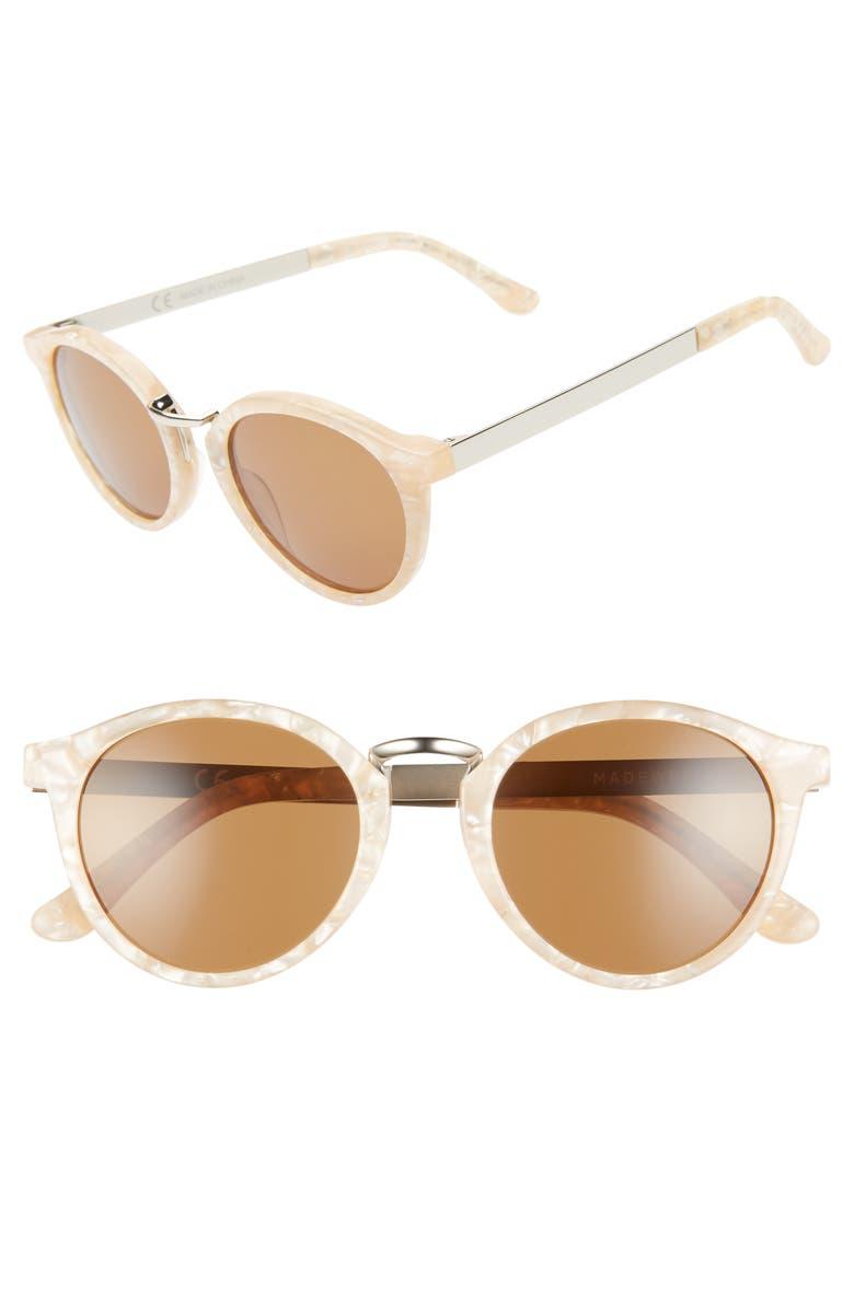 MADEWELL Indio 48mm Round Sunglasses, Main, color, BASHFUL BLUSH/ BROWN