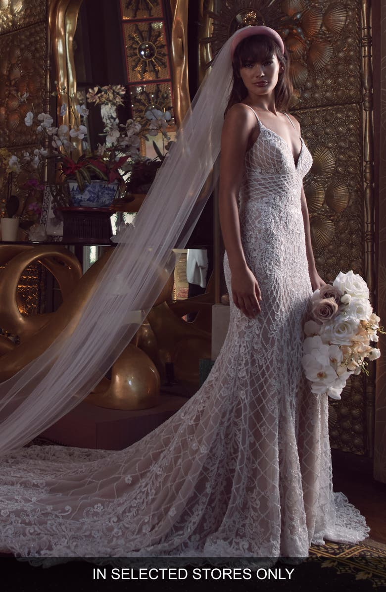 WTOO Dixie Embellished Lace Trumpet Wedding Dress, Main, color, IVORY/ BRONZE