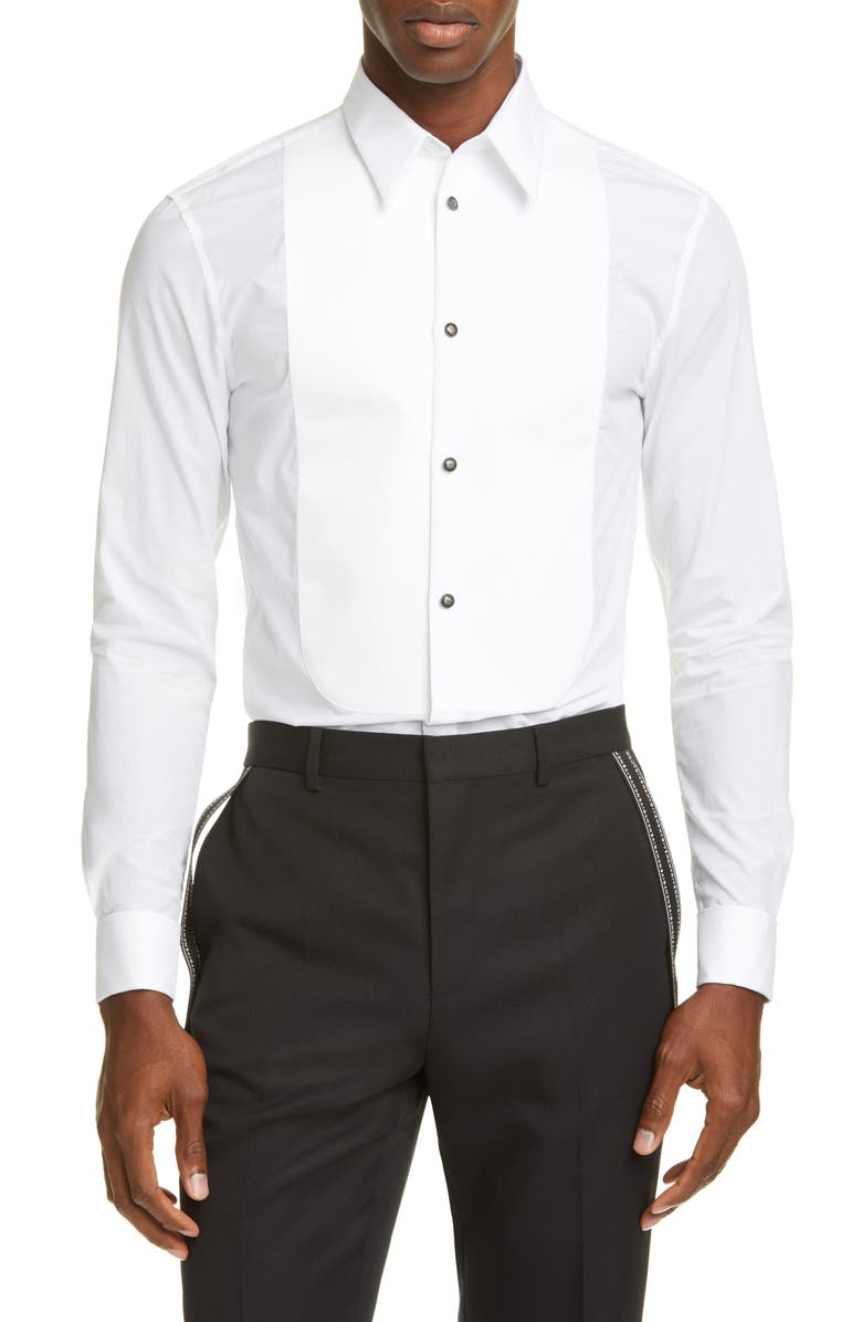 GIVENCHY Embossed Button Shirt, Main, color, WHITE