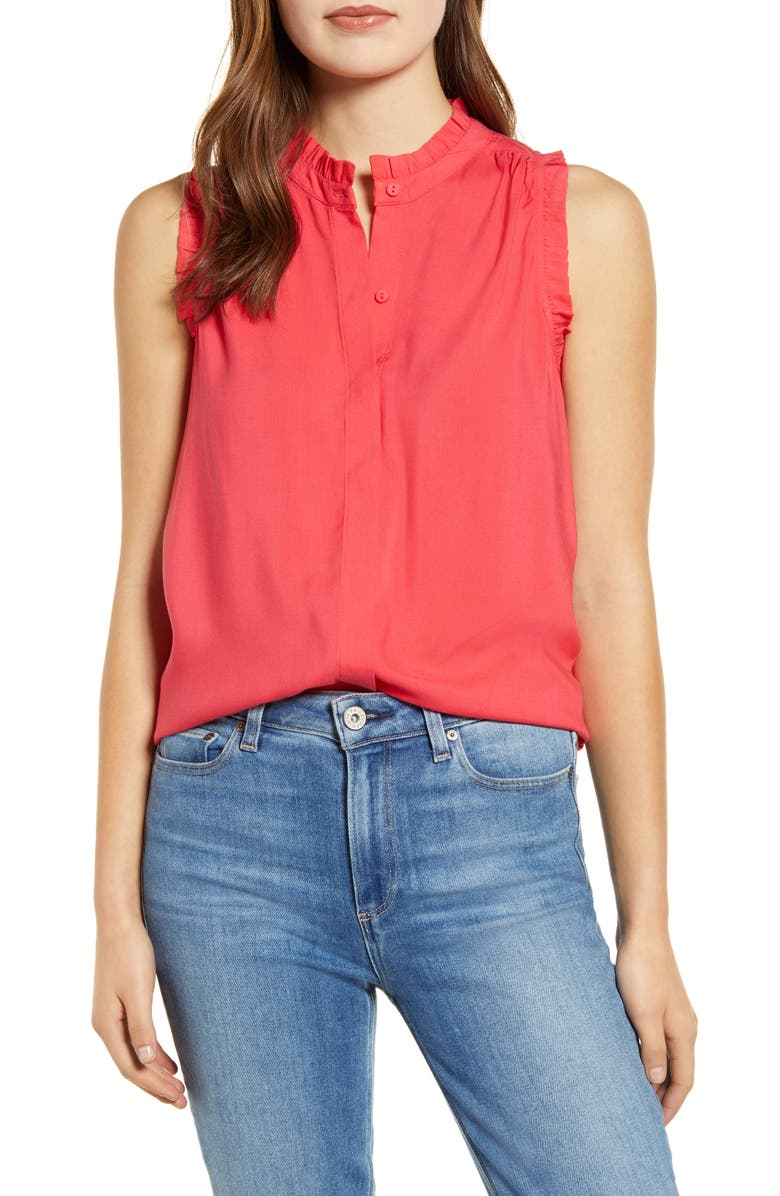 GIBSON x International Women's Day Living in Yellow Ruffle Trim Front Button Sleeveless Top, Main, color, BRIGHT CORAL
