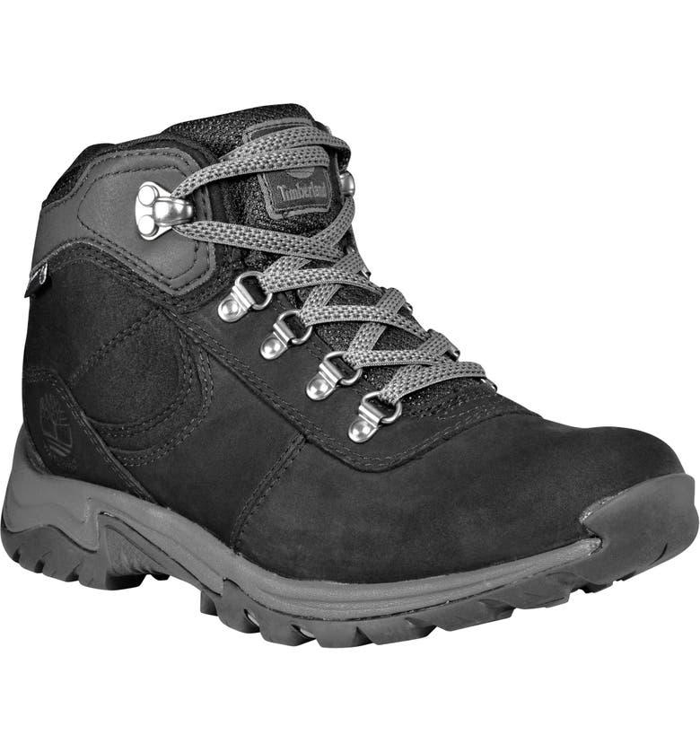 TIMBERLAND Mt. Maddsen Waterproof Hiking Boot, Main, color, BLACK FULL GRAIN LEATHER
