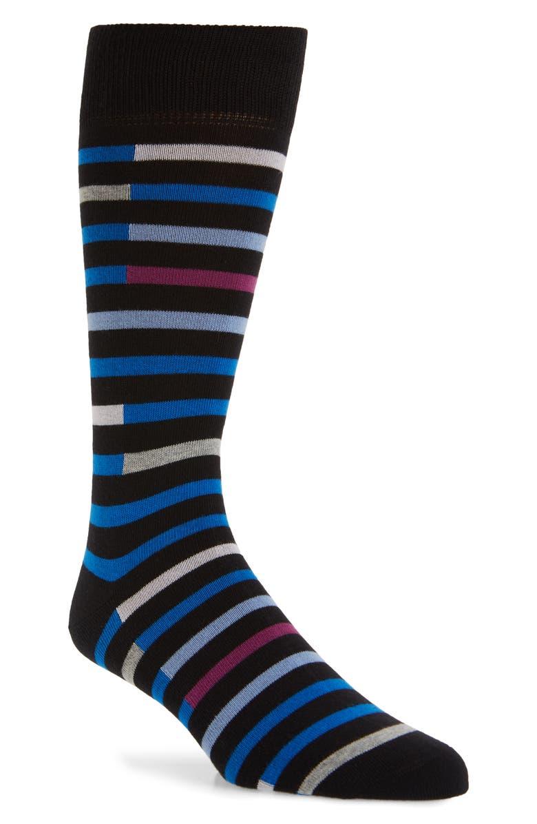 NORDSTROM MEN'S SHOP Rotto Stripe Socks, Main, color, BLACK/ BLUE