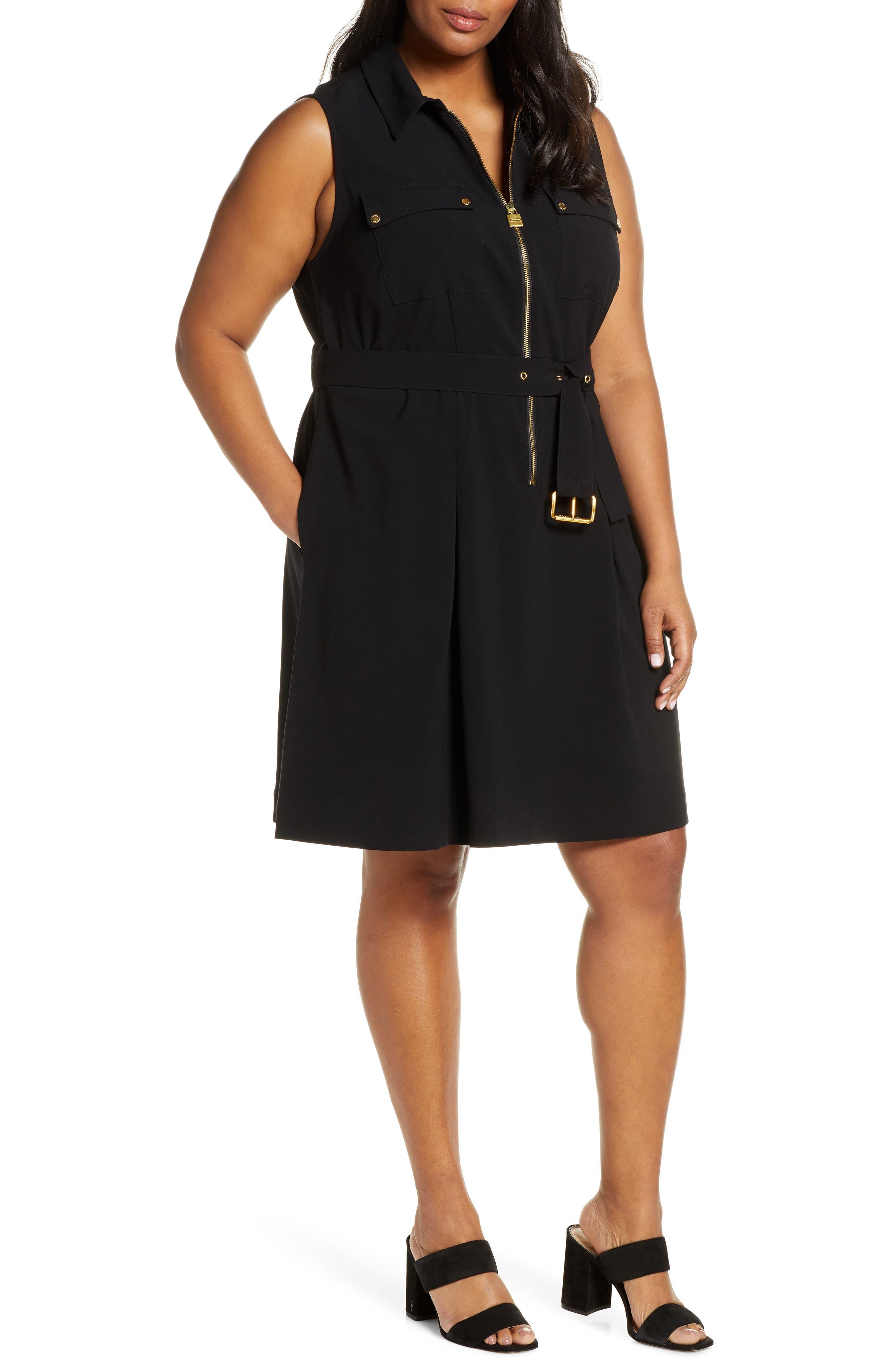 Plus Size Michael Michael Kors Sleeveless Lock Zip Shirtdress, Black