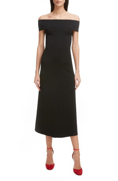 VICTORIA BECKHAM BARDOT OFF THE SHOULDER MIDI DRESS