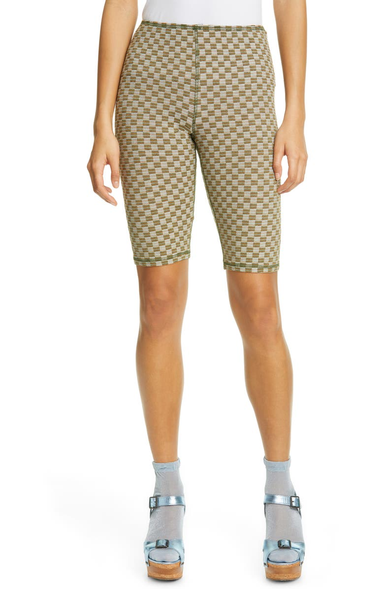 ANNA SUI Checkered Knit Bike Shorts, Main, color, 300
