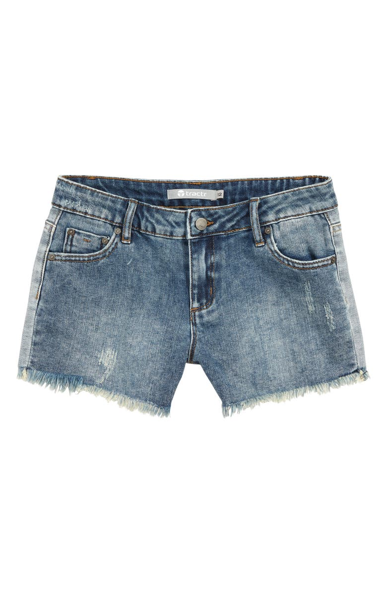 TRACTR Frayed Denim Shorts, Main, color, 407