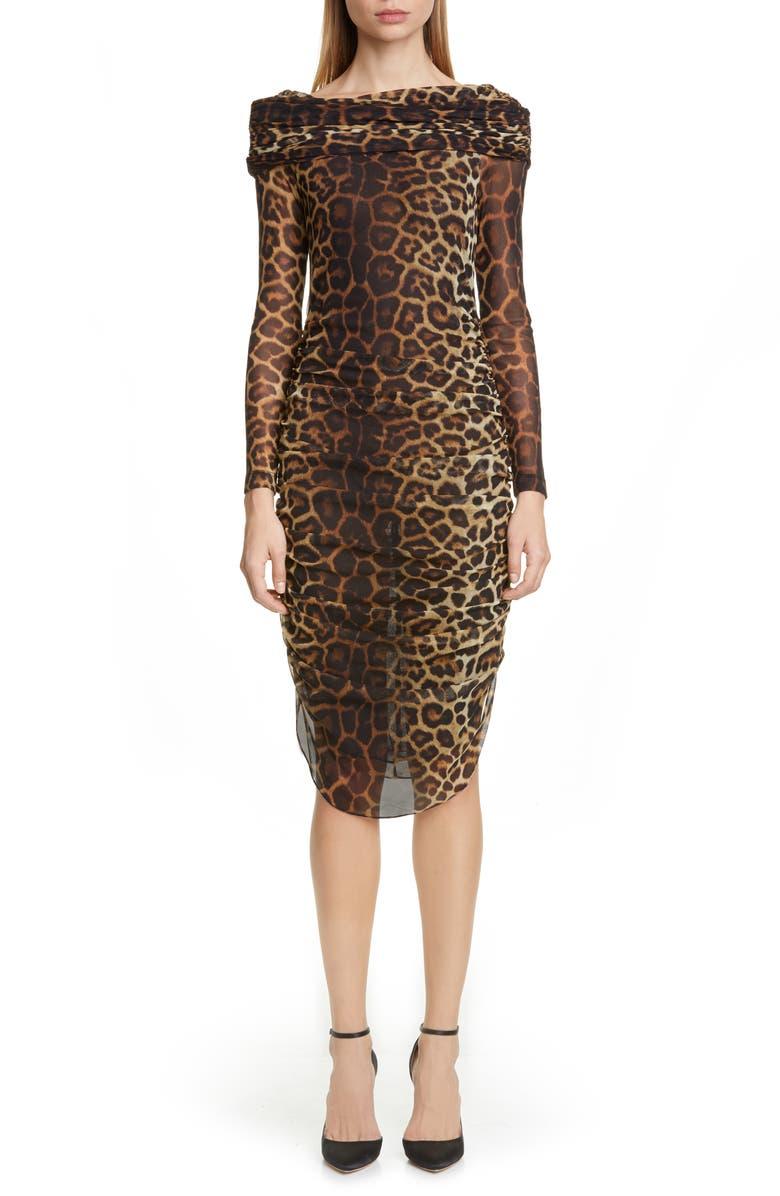 CHRISTIAN SIRIANO Leopard Print Long Sleeve Cocktail Dress, Main, color, 250