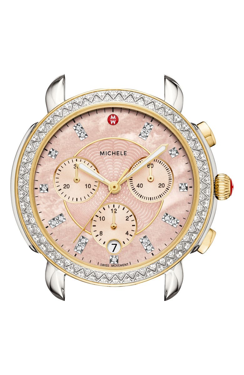 MICHELE Sidney Chrono Diamond Diamond Dial Watch Case, 38mm, Main, color, GOLD/ SILVER/ DESERT ROSE MOP