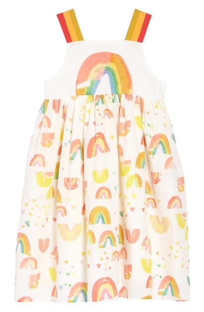 Stella Mccartney Kids' Girl's Painted Rainbow Sleeveless Cotton Dress In White
