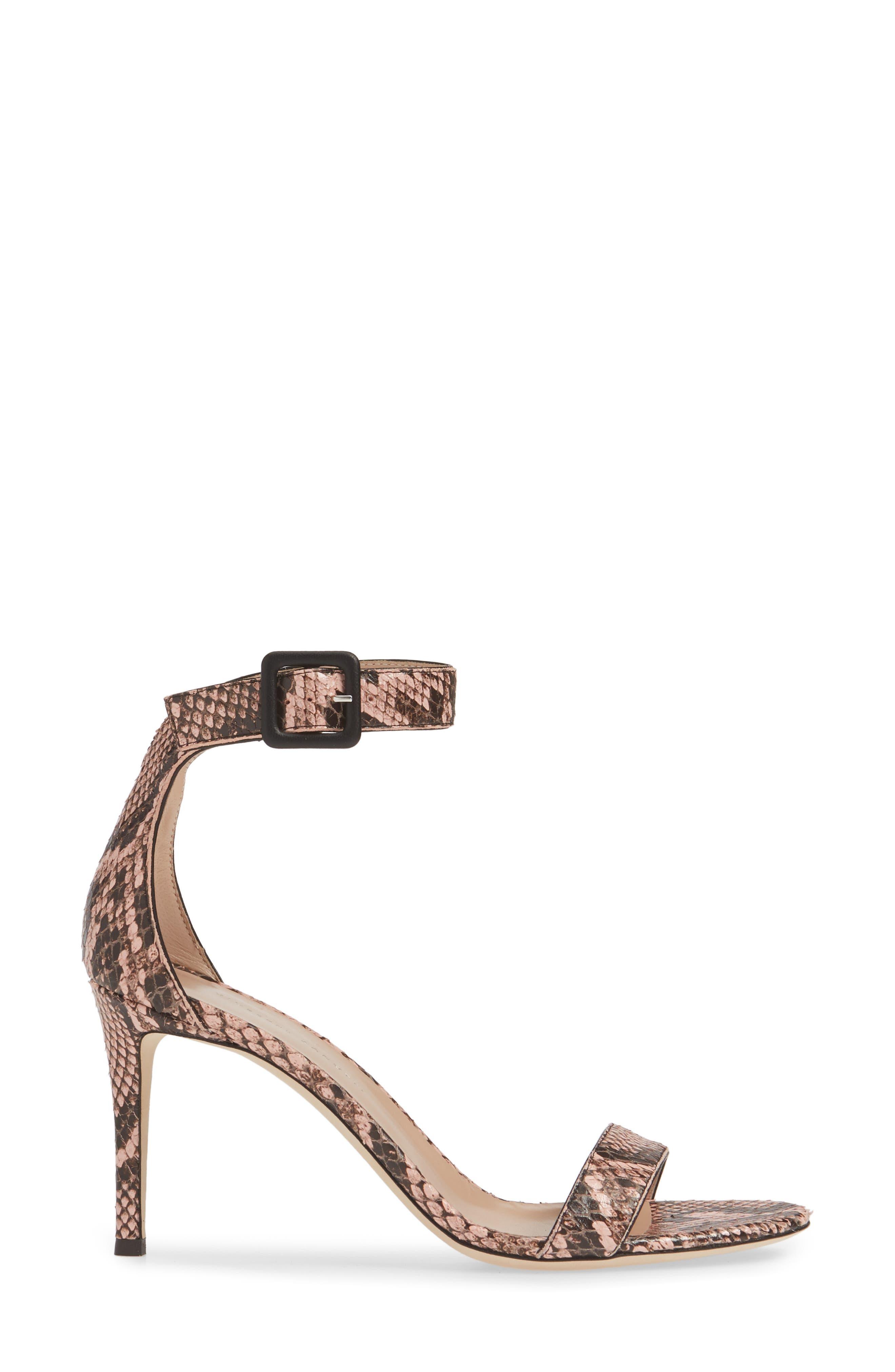 ,                             Snake Embossed Ankle Strap Sandal,                             Alternate thumbnail 3, color,                             PINK SNAKEPRINT