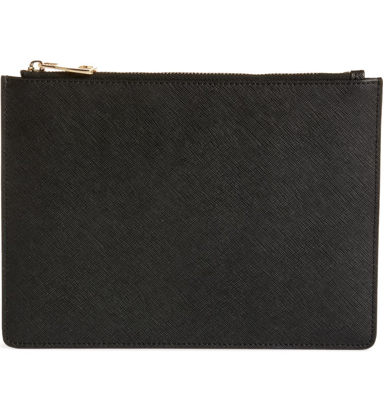 8 OTHER REASONS x Jill Jacobs Saffiano Leather Zip Pouch, Main, color, 001