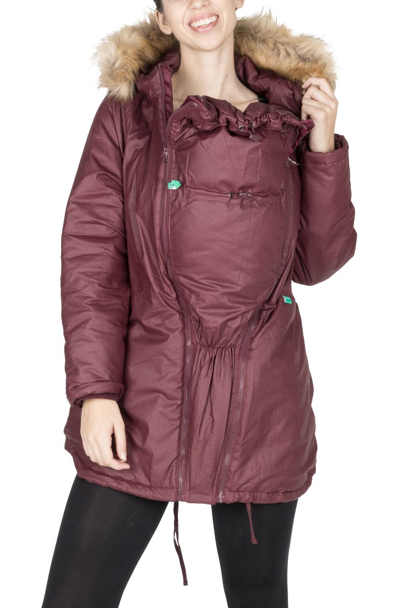 MODERN ETERNITY Sofia Waxed 3-in-1 Maternity Jacket with Faux Fur Trim, Main, color, BURGUNDY