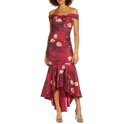 Chi Chi London Osia Floral Embroidered Off The Shoulder Mermaid Dress, Burgundy
