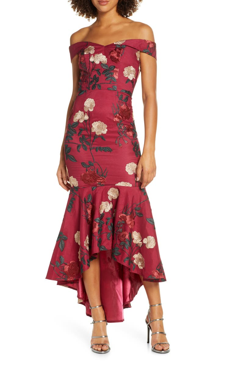 CHI CHI LONDON Osia Floral Embroidered Off the Shoulder Mermaid Dress, Main, color, BURGUNDY