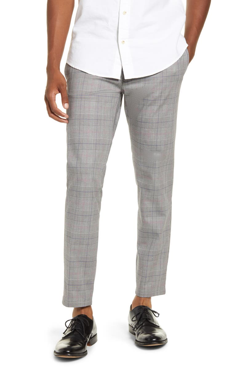 TOPMAN Check Crop Stretch Dress Pants, Main, color, GREY