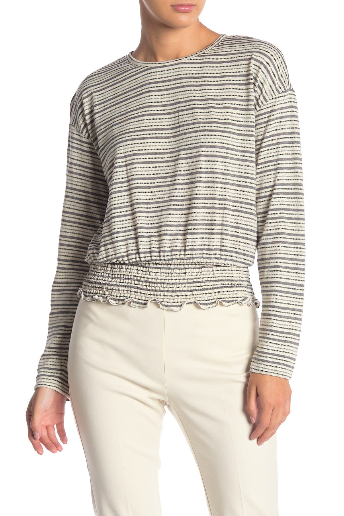 Image of Vince Camuto Long Sleeve Stripe Smocked Top